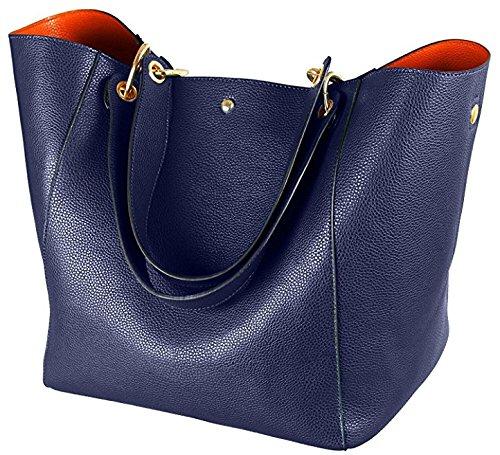 JOMOQ Taschen Damen Leder Große Handtasche Europäische stil Schultertaschen Umhängetasche Shopper Tasche Henkeltasche Beuteltasche Weich Damentasche Blue