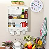 DriftingWood Wooden Bathroom Wall Shelf Mounted 2 Tier Wall Rack Shelves For Kitchen Wall Stands Organizer | White