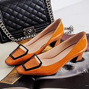 MKKM Weiblicher Lederner Pferdeschuh Des Einzelnen Schuhes mit Niedrigen Schuhen Der Metallschnalle mit Vier Jahreszeiten Schuhen,Rot,37
