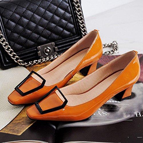 JF Weiblicher Lederner Pferdeschuh Des Einzelnen Schuhes mit Niedrigen Schuhen Der Metallschnalle mit Vier Jahreszeiten Schuhen,Rot,38