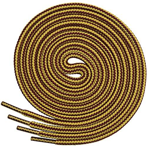 Miscly – Schnürsenkel Rund, Extrem Reißfest [3 Paar] für Arbeitsschuhe, Stiefel und Wanderstiefel - Nylon und Polyester - Ø 5 mm (137 cm, Gelb/Braun)