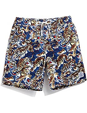 HAIYOUVK Animal Print Beach Pants Men'S Quick-Drying Loose Large Size Casual Shorts With Lined Male Swimming Trunks...