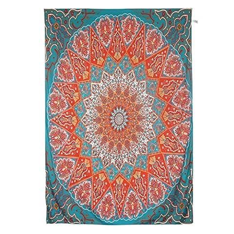 Finether indischer Wandteppich Wandbehang Mandala Elefant Tuch Wandtuch Gobelin Tapestry Goa Indien Hippie-/ Boho Stil als Dekotuch /Tagesdecke indisch orientalisch psychedelic bunt 215 x 150 cm FT-193.