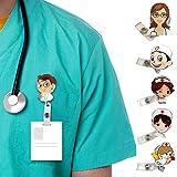 Porta Badge Medico, 6 Pezzi Porta Badge Infermiera, Distintivo Retrattile per Infermiere, Clip Del Permesso di Lavoro per Ope