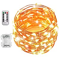 Tobbiheim Batteriebetrieben Lichterkette 100 LEDs 12 Meter Außen und Innen DIY Dekoration Kupferdraht IP68 Wasserdicht 8 Modi mit Fernbedienung für Weihnachten, Garten, Hochzeit - Warmweiß
