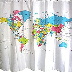 Gosear 180 x 180cm 12-Ojal Poliéster Decorativo Impermeable Anti-Mildew Baño Cortina de Ducha,Estilo de Mapa del Mundo