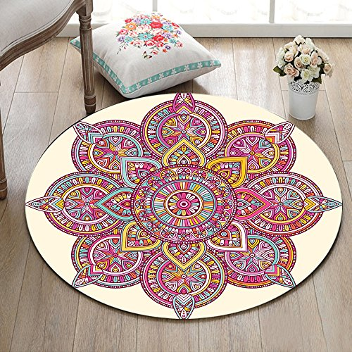 Indische Mandala blau rosa weiß gelb Rutschfest maschinenwaschbar runde Fläche Teppich Wohnzimmer Schlafzimmer Badezimmer Küche weich Teppich Bodenmatte Inneneinrichtungen 100x100 CM Küche-teppich, Gelb, Blau