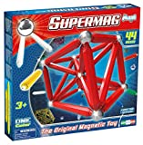 Plastwood Supermag Toys - 0122 - Maxi One Color Magnetic Building Game, 44 Pieces, Assorted Colours