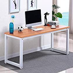 Popamazing Simple Computer Desk in Wood & Steel frame - Brown