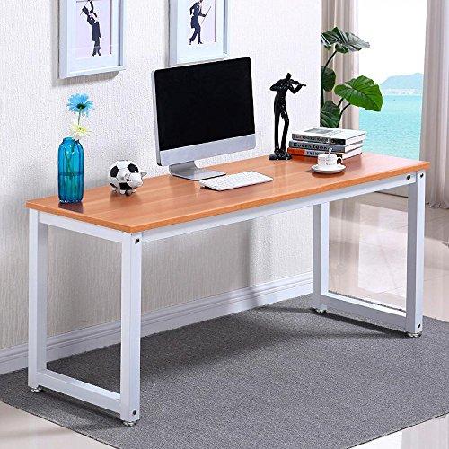 Popamazing Simple Computer Desk Wood Desktop Workstation Steel Frame Table Home Office Furniture (Brown)