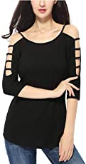 THE LUGAI FASHION Black Cotton Cold Shoulder Women Tunic Short Top for Jeans Top for Daily wear Stylish Casual and Western Wear Women/Girls Top