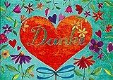Postkarte Mila Marquis * DANKE * Herz & Blumen