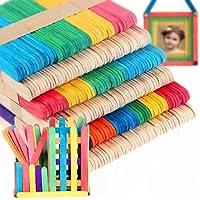 100 pcs Palos de Paletas Hielo Crema Barra Multicolor + Color de la Madera