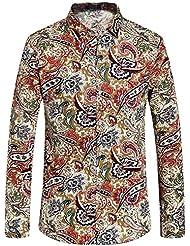 SSLR Chemise à manches longues Chemises casual pour homme