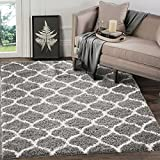 """A2Z RUG Cozy Super Trellis Shaggy Rugs Silver & Ivory 80x150 cm -2'6""""x4'9"""" ft Contemporary Living Dinning Room & Bedroom Soft Area Rug"""