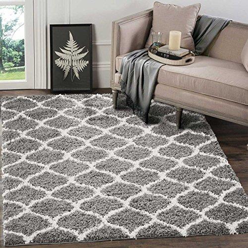 A2z Schnellspanner Teppich Cozy Super-Gitter Shaggy Teppiche Silber & Ivory 120x 170cm–22,9cm X53'12,7cm FT modernes Living Eßzimmer und Schlafzimmer weicher Bereich Teppich
