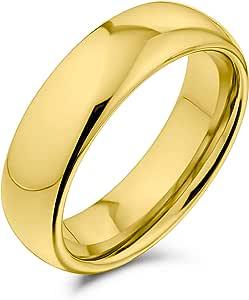 Bling Jewelry Plain Simple Dome Coppie Nero Argento Rosa Oro Placcato Titanio Fede Nuziale per Uomo Donna Comfort 6MM Taglia 4-14