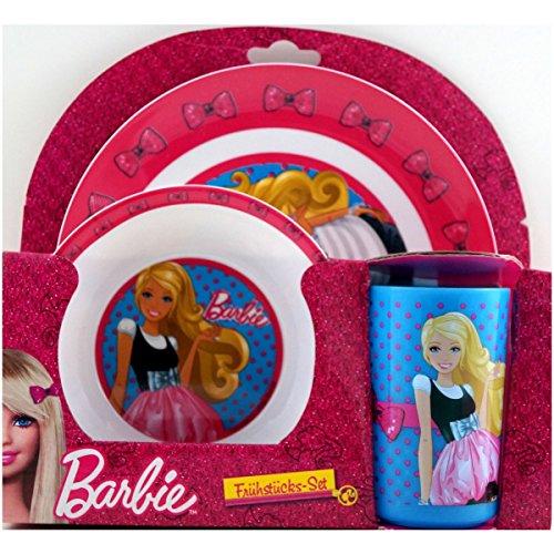3-tlg Set Barbie Hot Wheels Frühstücksset Frühstück Kindergeschirr Teller Becher (2/ -