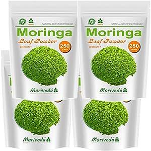 Moringa 1kg Blattpulver Oleifera Premium Plus, Vegan, zertifiziert und kontrolliert (4x250g Pulver)