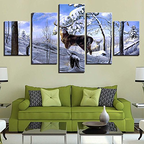 Home Decor Modern Living Room Work HD Canvas 5 Panel Deer Snow Landscape Immagini Stampate Wall Art Poster modulare