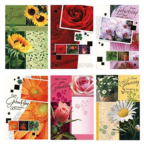 50 Geburtstagskarten Klappkarten mit 50 Umschlägen 6 Motive Grußkarten Glückwunschkarten Blumen 51-6340