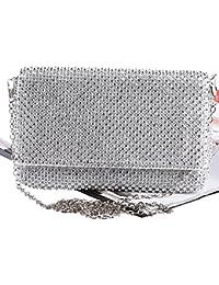 Damen Frauen Glitzer Clutch Abendtasche Handtasche Diamant Elegante Tasche für Hochzeit Party Silber 18.5*2.5*12cm