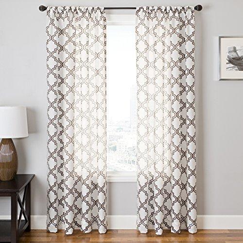 Softline Home Fashions Fenster Sheer/Panel/Fall/Vorhang mit Stab Pocket, 55 x 108, Chocolate/White
