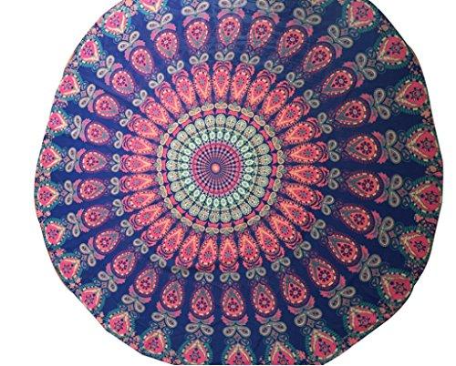 Weiße Und Badetücher Graue (Kanpola Runde Strandtuch Mandala Handwerk Yoga Matten Badetuch Saunatuch Strand Freizeit Pool Handtuch Wickelkleid Bikini Cover Up (F, 150cm))