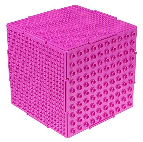 Strictly Briks The Cube - Baustein-Set mit Aufbewahrungsbox - 6 steckbare doppelseitige Platten mit großen & kleinen Noppen - kompatibel mit Allen großen Marken - 16,5 x 16,5 x 16,5 cm - Magenta (Würfel Aufbewahrung Möbel)