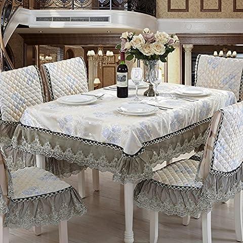 Europäisch-chinesischen Tycoon Esszimmer Stuhl-kissen,Esszimmerstuhl Kissen Set Tischdecke,Tischdecke Stoff Stuhl Pakete,Runder Tisch-stuhl-sets-F 150*200cm(59x79inch)