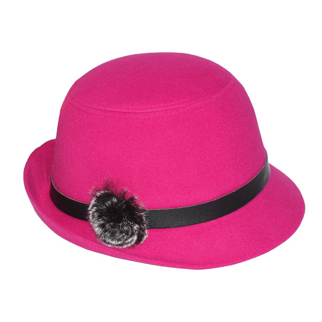 THENICE Damen Mode Hut Filz Melone Bowler Hats Erwachsene