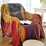 150cm x 190cm Chenille Jacquard Tassels Throw Blanket Sofa Chair Cover Tablecloth - Colorful Tribal Pattern (59 Inch x 75 Inch)