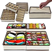 PAffy Set of 4 Foldable Drawer Dividers, Storage Boxes,Innerwear Storage Box, Closet Organizers, Under Bed Org