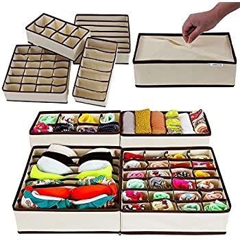 House Of Quirk Set Of 4 Foldable Drawer Dividers, Storage Boxes,Innerwear Storage Box, Closet Organizers, Under Bed Organizer