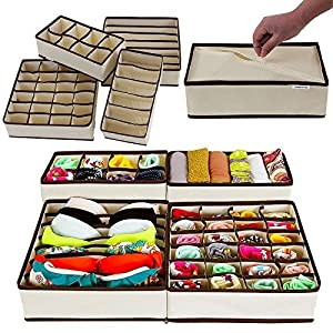 House of Quirk Set of 4 Foldable Storage Box Drawer Divider Organizer Closet Storage for Socks Bra Tie Scarfs – Beige