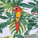 Stoff Baumwolle weiß Dschungel Papagei breit 280 cm Blatt