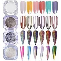 Born Pretty 4Boxes Nail Art Powder Mirror Holographic Laser Rainbow Neon Unicorn Pearl Mermaid pigmento Manicure Glitter Dust