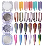 BORN PRETTY 4 Boxes Nail Art Powder Mirror Holographic Laser Rainbow Neon Animal Pearl Mermaid Pigment Manicure Glitter Dust