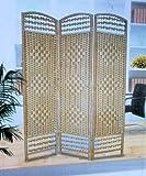 Paravent NATUR Korbgeflecht - Spanische Wand Raumteiler