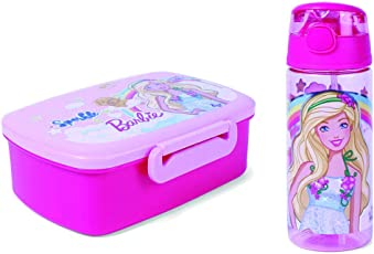 Mattel Barbie Sparkle Lunch Box & Mattel Barbie Always Show Sparkle Plastic Water Bottle, 500ml, Pink - BPA Free   for Kids of Age 3 Years and Above   Premium Quality