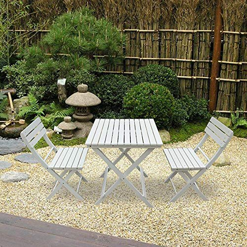 PALDIN Folding Wooden Garden Furniture Dining Set 2 Seater Outdoor&Indoor Patio Coffee Rustic Square Table & Chairs set (White)