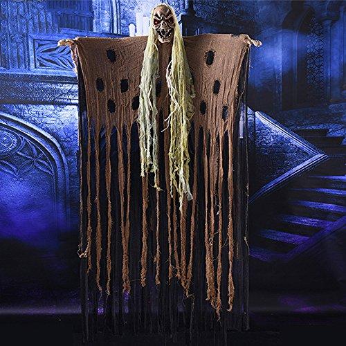 Ninja Kostüm Ghost - YHOOEE Halloween Dekoration Ghost Requisiten Lange Haare Gruselige Schädel Karneval Horror Hängen Geister Ornamente Beängstigende Klang Augen Leuchten,Brown