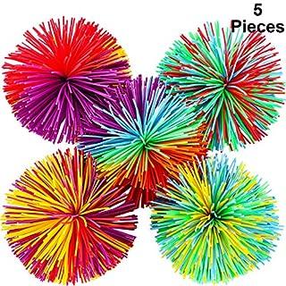 5 Stücke AFFE Stringy Balls Sensory Fidget Stringy Balls Weiche Regenbogen Pom Bouncy Stress Balls mit Aufbewahrungstasche, Mehrfarbig (5 Stücke)