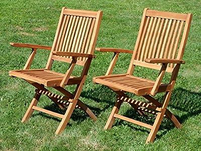 2Stück TEAK Design Klappsessel Gartensessel Gartenstuhl Sessel Holzsessel mit Armlehne Gartenmöbel Holz 'AVES' geölt von AS-S von AS-S - Gartenmöbel von Du und Dein Garten