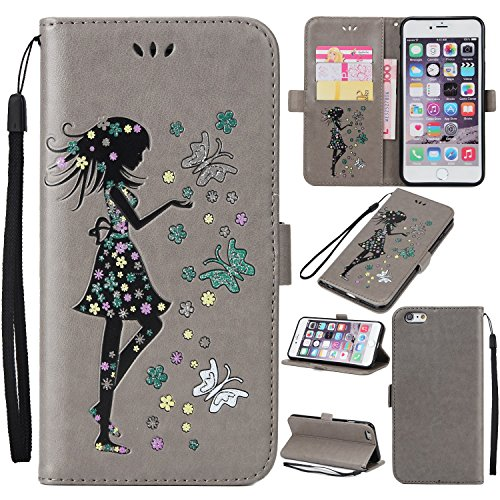 EKINHUI Case Cover Fairy Girl & Flowers Embossing Style Synthetik Leder Tasche Horizontale Flip Stand Brieftasche Tasche mit Lanyard & Card Slots für iPhone 6 Plus & 6s Plus ( Color : Blue ) Gray