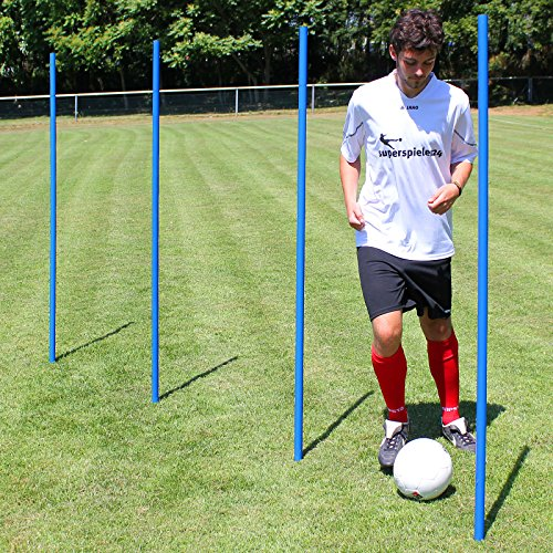 Superspieler24 5 x Slalomstange 170 cm mit Metallspitze für Fußballtraining (blau)