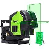Huepar 8211G Niveau Laser Croix Vert avec 2 Points Laser, Auto-nivellement Commutable 2 Laser Points et Lignes avec Mode Pulsé Extérieur, Distance de Travail 25m, Support Magnétique Incluse