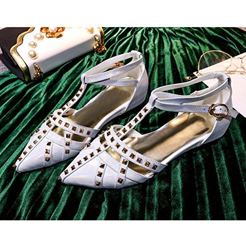 Damen Sandalen Kuhleder Flach Schuhe T-Spange Knöchelriemchen mit Nieten Weiß
