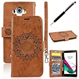 Coque pour LG G4 Brun, GrandEver Housse Cuir PU Leather Etui Pochette Flip LG G4 Wallet Housse Mandala Fleurs Motif Solide Bookstyle Case Cas Portable Holster Fonction Stand Magnetique Dustproof Protective Shell Fente de Carte Housse Protecteur pour LG G4 + 1 x Stylet