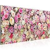 Bilder Blumen Wandbild 100 x 40 cm Vlies - Leinwand Bild XXL Format Wandbilder Wohnzimmer Wohnung Deko Kunstdrucke Pink 1 Teilig -100% MADE IN GERMANY - Fertig zum Aufhängen 015412a